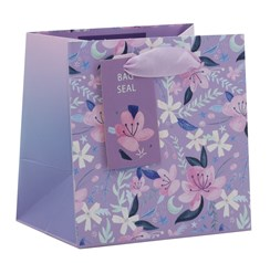 """Mini Small Female Gift Bag - Lilac with Pink White Flowers 5.25"""" x 5.25"""""""