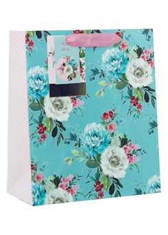 "Medium Female Gift Bag -Pink white & Blue Flowers & Pink Polka dot Sides 10x8.5"""