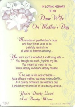 "Loving Memory Graveside Memorial Mother's Day Card - My Dear Wife 6"" x 4"""