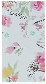 2021 Slim Week To View Floral Hardback Fashion Diary - White Pink Yellow Flowers