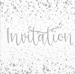 Pack Of 6 Open Party Card Invites & Envelope - Silver Foiled Invitation & Spots