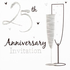 Pack of 6 Silver 25th Wedding Anniversary Party Card Invitations & Envelopes