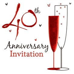 Pack of 6 Ruby 40th Wedding Anniversary Party Card Invitations & Envelopes