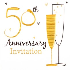 Pack of 6 Golden 50th Wedding Anniversary Party Card Invitations & Envelopes