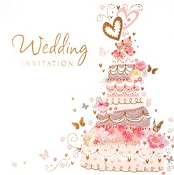 Pack Of 6 Wedding Day Card Invitations & Envelopes - Wedding Cake & Butterflies