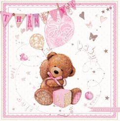 Multi Pack 36 Thank You For The Baby Gift Cards & Envelopes - Baby Girl Bear