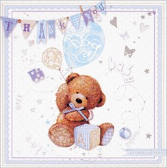 Multi Pack 36 Thank You For The Baby Gift Cards & Envelopes - Baby Boy Bear