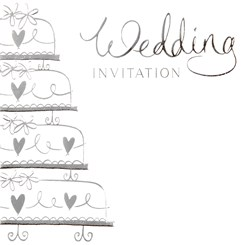 Multi Pack 36 Wedding Day Card Invitations & Envelopes - Silver Wedding Cake