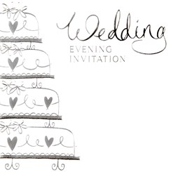 Multi Pack 36 Wedding Evening Card Invitations & Envelopes - Silver Wedding Cake