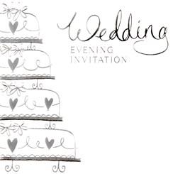 Pack Of 6 Wedding Evening Card Invitations & Envelopes - Silver Wedding Cake