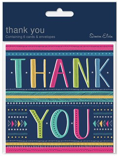 Pack Of 6 Thank You Cards & Envelopes - Multicoloured Text & Stars