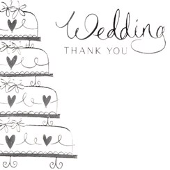 Multi Pack 36 Thank You For Wedding Gift Cards & Envelopes - Silver Wedding Cake
