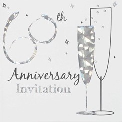 Multi Pack 36 Diamond 60th Wedding Anniversary Party Card Invitation & Envelopes