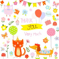 Pack Of 6 Thank You Cards & Envelopes -  Owl, Cat, Dog, Bunting & Balloons