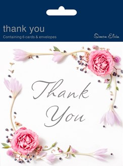 36 Multi Pack Thank You Cards & Envelopes - Pink Rose Floral