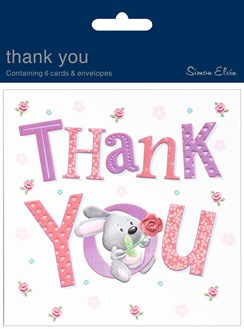 Pack Of 6 Thank You Cards & Envelopes - Cute Rabbit & Rose Flower