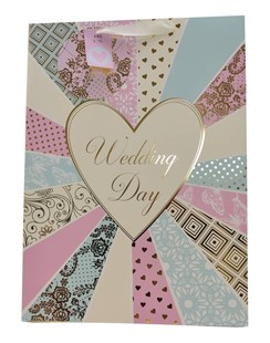 "Extra Large Wedding Day Gift Bag - Pink, Cream & Green Floral Stripes 18"" x 13"""
