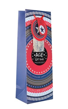 """Bottle Male Gift Bag - Blue & Red Happy Birthday Make Your Own Age 14"""" x 5"""""""