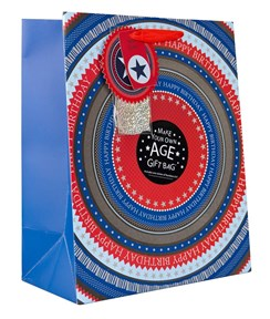 """Large Male Gift Bag - Blue & Red Happy Birthday Make Your Own Age 13"""" x 10.5"""""""