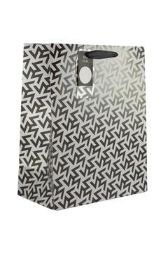 "2 x Large Male Gift Bags - Black & Silver Geometric Pattern 13"" x 10.25"""