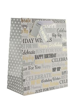 """2 x Large Unisex Gift Bags - White With Black, Silver & Gold Text 13"""" x 10.25"""""""