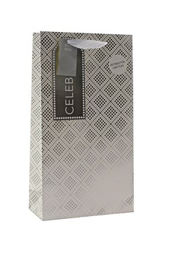 "2 x Large Bottle Unisex Gift Bags - White & Silver Geometric Squares 14"" x 8"""