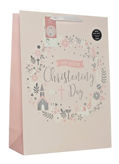 "Extra Large Christening Girl Gift Bag - Silver Foil Church & Text Circle 18""x13"""