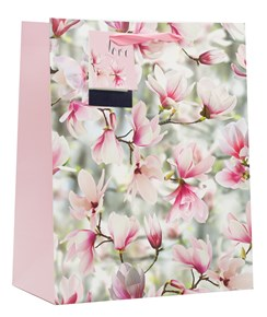 Large Floral Gift Bag Ribbon Handle & Tag Pink & White Flowers Ideal Mothers Day