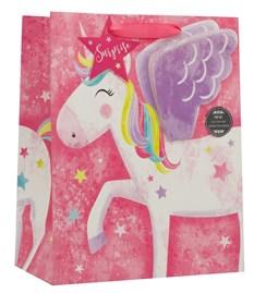 """Large Female Gift Bag - Juvenile Rainbow Magical Unicorn 13"""" x 10.5"""""""