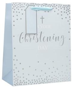 "Large Blue Christening Boy Gift Bag - Silver Foil Cross, Spots & Text 13x10.25"""