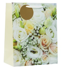 """Large Wedding Gift Bag - White and Ivory Roses with Gold Tag 13""""x10.25"""""""