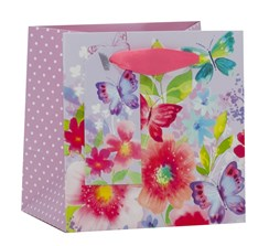 """Mini Small Female Gift Bag - Floral Butterfly 5.25"""" x 5.25"""""""