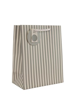 "2 x Large Unisex Gift Bags - White & Silver Vertical Stripes 13"" x 10.25"""