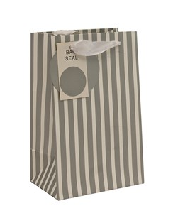 """Small Unisex Gift Bag - Modern Thick Vertical Silver & White Stripes 8"""" x 5"""""""