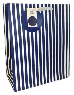 Large Navy Blue & White Stripes Gift Bag 33cm x 26.5cm x 14cm - Any Occasion