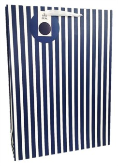 Extra Large Navy Blue & White Stripes Gift Bag 45.5cm x 33cm x 10cm Any Occasion