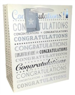Large White & Silver Congratulations Gift Bag 33cm x 26.5cm x 14cm Any Occasion