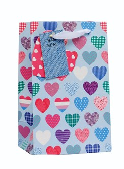 "Small Female Gift Bag - Vintage Pale Blue, Pink & Lilac Patterned Hearts 8"" x 5"""