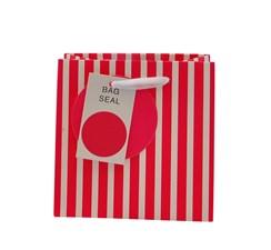 "Mini Small Female Gift Bag - Vertical Hot Pink & White Stripes 5.25"" x 5.25"""