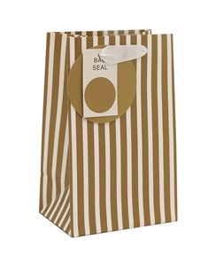 """Small Unisex Gift Bag - Modern Thick Vertical Gold & White Stripes 8"""" x 5"""""""