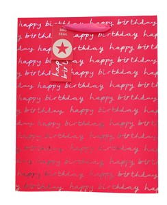 "2 x Large Female Gift Bags - Hot Pink & Silver Happy Birthday Text 13"" x 10.25"""