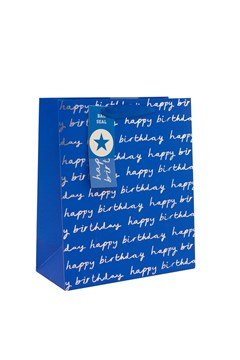 "2 x Large Male Gift Bags - Blue With Silver Happy Birthday Text 13"" x 10.25"""