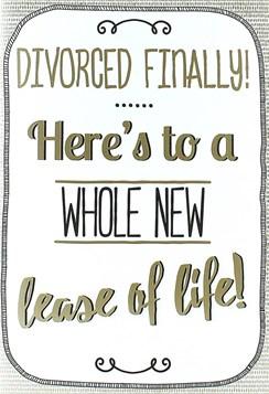 """Divorce Greetings Card - Matte Gold Text, Tiny Spots & Black Swirls 7.5"""" x 5.25"""""""