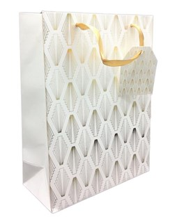 """Medium Gift Bag - White with Gold Foil Pattern Ribbon Handle 9.5"""" x 7"""""""