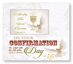 "On Your Confirmation Day Art Deco Photo Frame - Religious Verse & Dove 8.5"" x 9"""