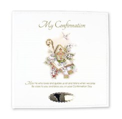 "Ivory Leatherette My Confirmation Photo Album Gift 8.75"" x 9""- Holds 168 Photo's"