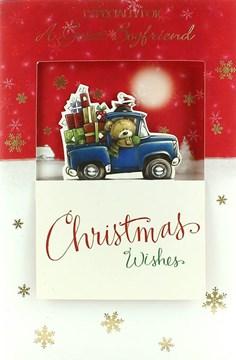 "Boyfriend Christmas Card - Cute Bear, Penguin & Presents In Blue Truck 9"" x 6"""
