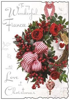 """Jonny Javelin Fiancee Christmas Card - Xmas Wreath, Red Roses & Bow 9"""" x 6.25"""""""
