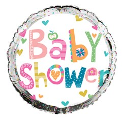 "Round 18"" Baby Shower Foil Helium Balloon (Not Inflated) - Bright Hearts & Spots"