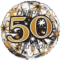"""Round 18"""" 50th Birthday Foil Helium Balloon (Not Inflated) - Age 50 Unisex"""